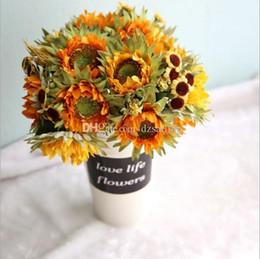 Wholesale Little Silk Flowers - Charming little sunflower briidal flower bouquets artificial silk flowers for wedding party wreath garland home decoration 13396