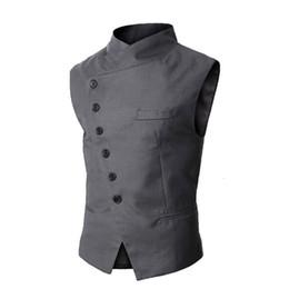 Wholesale Mens Business Vest - Wholesale- New Arrival Mens Vest Fashion Brand Vest Men High Quality Black Gray Formal Business Men Fit Suits & Blazer For Men