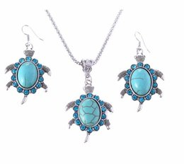 Wholesale Turquoise Pendant Silver Drop - Brand Design Jewelry Sets Plating Silver Retro Turquoise Pendant Necklace Turtle drop earrings Charm Gift women A173G