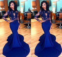 Wholesale Stretch Satin Shirts - Elegant Royal Blue African 2017 Prom Dresses Long Sleeve O-neck Applique Sweep Train Stretch Satin Zipper Back Evening Plus Size