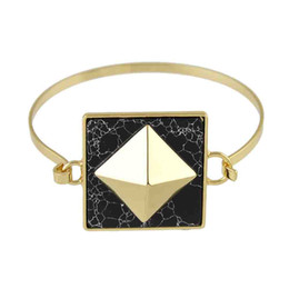Wholesale Gold Black Metal Bangle - Punk Rock Style Gold-Color Metal with White Black Marble Geometric Open Statement Bracelets and Bangles For Women