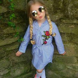 Wholesale Blouse Roses - 2017 New Children Dresses Baby Girls Fashion Rose Flower Striped Blouse Dress Girl Long Sleeve Dress Free Shipping