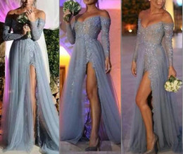 Wholesale Long Robe Soiree Sequin - Fashion Off Shoulder Sexy Evening Dresses Long Sleeve Sheer Grey Sequins Lace High Split Long Party Prom Dress Pageant robe de soiree