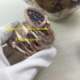 Wholesale Ladies Watches New Model - New luxury Ladies Rose gold Black Dial Women's New Model Snake with Diamond Quartz Watches Wristwatch Ladies Watch Women's Watches