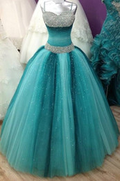 Wholesale Spaghetti Quinceanera Dress - 2017 Sweet 16 Long Floor Length Quinceanera A-Line with Spaghetti Straps Victoria Prom Gown Luxury Crystals Quinceanera Dress 012