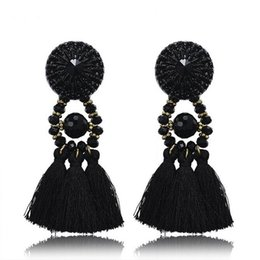 Wholesale Thread Chandelier Earring - Women's Thread Long Tassel Earrings Black Rhinestone Long Drop Statement Fringe Earrings Vintage Party jewelry Accessories