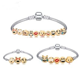 Wholesale Fun Party Favors - Animals Emoji Faces Charms Bracelets With 10 Pieces Enamel Cartoon Animal Emoji Fun Face Beads Party Favors Gift Free Shipping