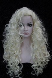 Wholesale Long Pale Blonde Wigs - Hivision 2017 New charming fashion sexy cosplay Pale blonde synthesis of female wavy long curly woman's full wig