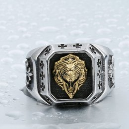 Wholesale Lion Head Rings For Men - Dhgate Cool For Man 316L Stainless Steel Plated-Gold Lion Head Fashion Top Quality Rings Punk Jewelry BR8-389