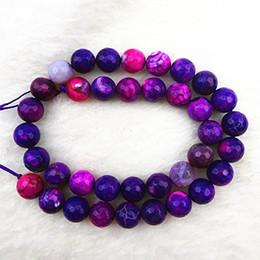 Wholesale Purple Agate Pendant Bead - YZ105 10mm Beautiful Facted Purple fire agate Ball Loose Bead 15.5 inch