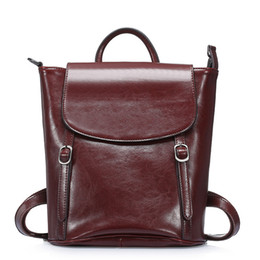 Wholesale Coffee America - Europe and America Cowhide Genuine leather Travel Backpack for women backpacks for travelling backpacks drop shipping