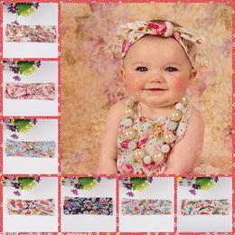 Wholesale Print Ribbon For Baby - 2016 Kids Hairbands Headbands for Girls Baby Top Knot Turban Headband Floral Print Girls Headwrap Rabbit Ears Headband Baby Hair Accessories