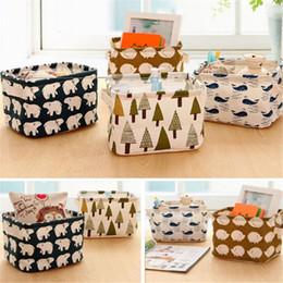 Wholesale Wholesale Desk Organizers - Wholesale- Cute Linen Desk Storage Box Holder Jewelry Cosmetic Stationery Organizer Case Make up Bag