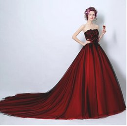 Wholesale Toast Gown - Cheap Real Image Wine red Sweetheart Lace Strapless The princess bride Wedding Dress Floor Length Toast Evening Gowns Embroidered Lace Up