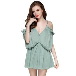 Wholesale Low V Neck Jumpsuits - Fashion Women Rompers Summer Sexy Harness Low-cut V-neck Strapless Chiffon Jumpsuit Casual Rompers