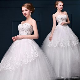 Wholesale Korean Gown For Wedding - Sexy Fashion Real Photos Korean Cheap Strapless Lace Wedding Dresses Strapless Crystal Princess Long Strapless Bridal Gowns for Wedding