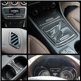 Wholesale Carbon Fiber Storage Boxes - Carbon fiber Console CD Panel Storage Box Decorative Air Vents Cover Trim For Mercedes Benz GLA X156 CLA C117 200 220 260 A180