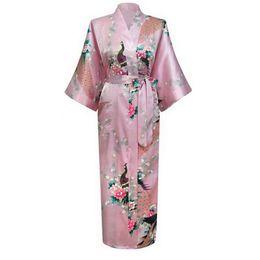Wholesale Silk Lingerie Kimono - Wholesale- Plus Size XXXL Pink Sexy Silk Nightgown Flower Kimono Bath Gown Long Lingerie Robes Sleepwear Sauna Costume pijamas mujer NR022