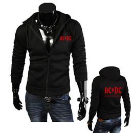 Wholesale Korean Zipper Jackets Hoodies - Wholesale- 2016 New Fashion Autumn Men's Hoodies AC DC Print Men Jacket Hooded High-quality Autumn Winter Korean Slim Fit Man Sweatshirts