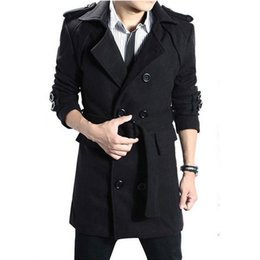 Wholesale Trench Dark Blue - Wholesale- New Arrived Man Long Trench Coat Winter Peacoat Men's Cotton Coat Mens Overcoat Men's Coats Male Clothing Black Gray Dark Blue