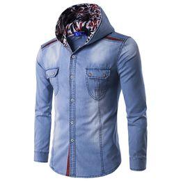 Wholesale Cowboy Up Wholesale - Wholesale- 2016 New Fashion Men's Jean Hoodies Cowboy Men Jacket Tracksuits Denim Jacket Men Jeans Jacket Men Hoodies And Sweatshirts M-3
