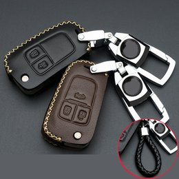 Wholesale Key Case Cover Leather - Car Key Case For Chevrolet Cruze Trax Malibu Genuine Leather Car Smart Key Protect Cover Key Holder Sport Stying