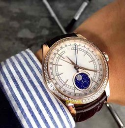 Wholesale Men Real Watches - Luxury White Diamond 2017 NEW Moonphase Mens Watch Gold Real Leather Strap Sapphire Crystal Fashion Man Automatic Watches