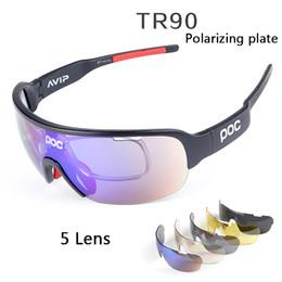 Wholesale Polarized Sunglasse - 2018 5 Lens POC Brand Bike Sun Glasses Anti-Fog Cycling Bici Velo Eyewear DO BLADE Bike Casual Goggles Persol Sport Riding Mens Sunglasse