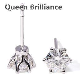 Wholesale Moissanite Diamond Earrings - Queen Brilliance 1 Carat ctw F Color Lab Grown Moissanite Diamond Pave Setting Stud Earrings 14K 585 White Gold Fashion Earring 17903