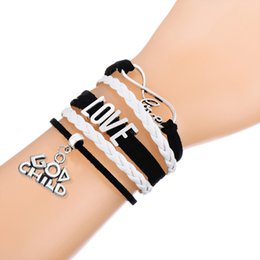 Wholesale Wholesale Leather Braid Clasp Bracelet - Multilayer Braided Woven Bracelet With Infinity Love God Child & God Mother Charms Pink and White Adjustable Leather Bracelets