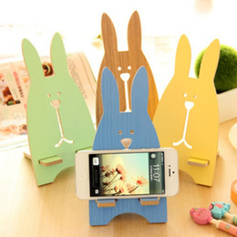 Wholesale Supermarket Supplies - promotional products cell phone mount holder DIY Gift Idea wood gift supermarket supplies Cute Rabbit fashion
