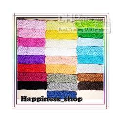 "Wholesale White Crochet Headbands Wholesale - 50pcs lot Wholesale 1.5"" Newborn Infant baby girl Top TuTu crochet headband Hair Bow 25colors"