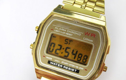 Wholesale Retro Gold Digital Watch - New A159W watches Mens Classic Stainless Steel Digital Retro Watch Vintage Gold and Silver Digital Alarm A159W Sports Watches A159 A159W