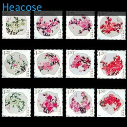 Wholesale Postage Labels - Wholesale- 12pcs Peach blossom flower postage stamp new brands brands label, selos marca carimbo franqueo marca matasellos collection