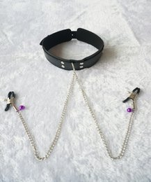 Wholesale Woman Collar Sex - Slave Collar & Nipple Clamps Leather Necklace Adult Games Sex Products For Woman, Bdsm Bondage Erotic Sex Toys For Couples