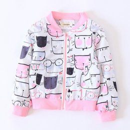 Wholesale Kids Animal Print Coats - Kids Jacket Autumn Children Sweatshirts Print Clothing Baby Tops Cotton Zipper Casual Coat Boys Girls Clothes 3-8Y