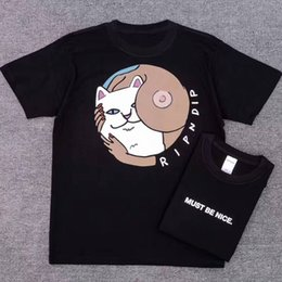 Wholesale Nice Shirts Cotton - RIPNDIP MUST BE NICE T-Shirt Tee Men's Design Printed T shirt Girls Boys Sports Skateboards Tees Black 100% Cotton Jersey Tee LLWG0703