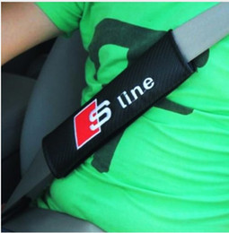 Wholesale Audi A6 S Line - 2PCS Pair Car Safety Seat Belt Cover S line RS Logo Soft Strap Protector Cover for Audi A3 A4 A5 A6 Q3 Q5 Q7 Car Styling