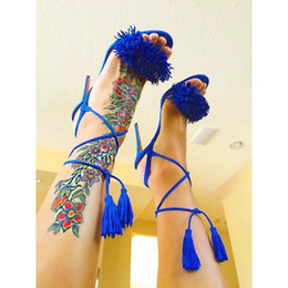 Wholesale Straw High Heeled Pumps - Sexy Women T-Tied Women Gladaitor Sandals Candy Color Fashion Fringe Ankle Straps Tassel Summer Dress Shoes Spike Heel Pumps