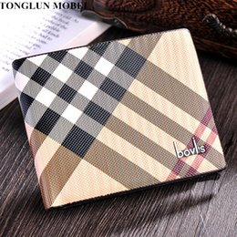 Wholesale Man Passport Wallet - Wholesale- TONGLUN MOBEI Men Wallets Vintage Striped Designer Mens Wallet Quality Leather Short Bifold Male Purse Bags Portefeuille Homme