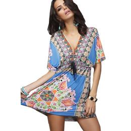 Ropa de estilo bohemio online-Ropa de moda Vestido de mujer con cuello en V Flor de Bohemia Estilo europeo Imprimir Sexy Vintage Vestidos de Festa Summer Beach Dress