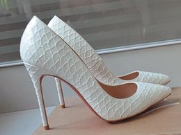 Wholesale Embossed Wedding - Spring Autumn New Women Pointed Toes Fish Pattern High Heels Embossed Fish Mouth White Black Dress Shoes Ladies Peep-toe Wedding Shoes