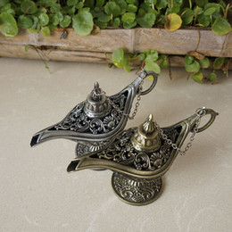 Wholesale Wedding Pewter - Vintage Aladdin Genie Lamp Retro Ornaments Alloy Crafts Size Small Home Decoration Wedding Gift Antique Pewter Bronze Color