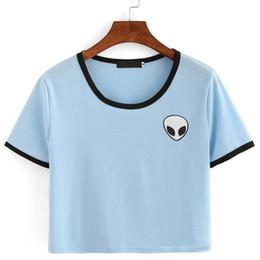 Wholesale Wholesale Striped Tshirts - Wholesale-Women Hipster Harajuku Cute Stripe Short Sleeve Cotton Tshirts Crop Top Tee Alien Embroidery T Shirt