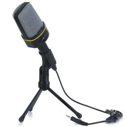 Wholesale Karaoke Laptop Microphone - New Condenser Stand Microphone With Volume Control Good Quality ABS Material Microfone Compatible For PC Laptop Skype Recording