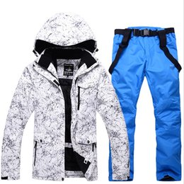 Wholesale Winter Snowboard Coat Men - Wholesale- Winter Jacket+Pans Snowboard Men Waterproof Windproof Ski Jacket Climbing Thermal Snow Outdoor Ski Camouflage Coat Female