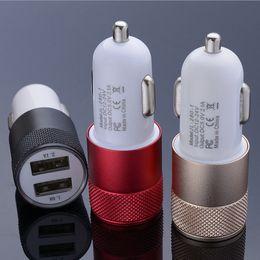 12-вольтовый автомобильный адаптер Скидка Металл двойной порт USB автомобильное зарядное устройство загорается автомобильный адаптер универсальный 12 Вольт 1 ~ 2 ампер для Apple iphone7 7Plus ipad Samsung LG HTC с розничной коробке