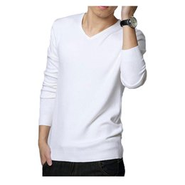 Wholesale Mens Zipper Sweaters - Wholesale- 2015 Autumn Winter Mens Sweaters Black White Jumper Male V-Neck Pullovers Long Sleeve Slim Fit Men Jumpers Solid Knit Pull Man