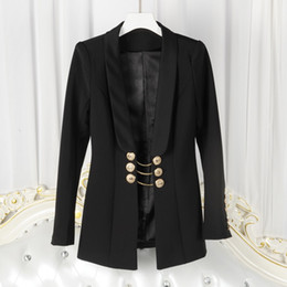 Wholesale Gold Double Neck - new with label and tag Brand BTop Quality Original Design Women's Ladies Females Swallowtail gold chain jacket Blazer outwear Metal Buckle