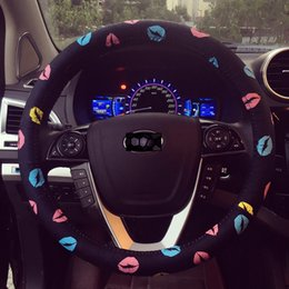 Wholesale Cute Steering Wheel Covers - car styling printing steering wheel car cover fashion lips car steering wheel cover PU personalized cute women steering wheel decoration